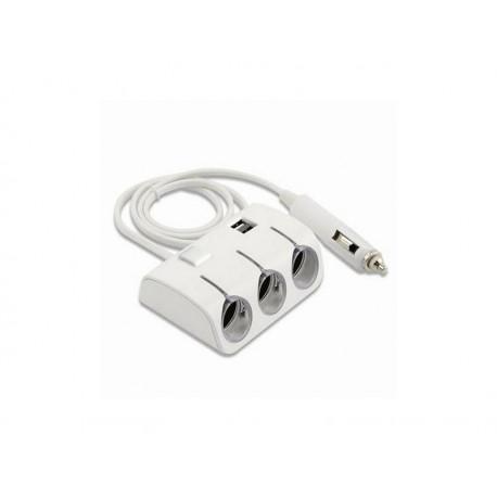 Adaptor bricheta auto 3 prize cu USB